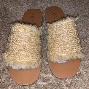 Sandy toes straw slide sandal sz 8